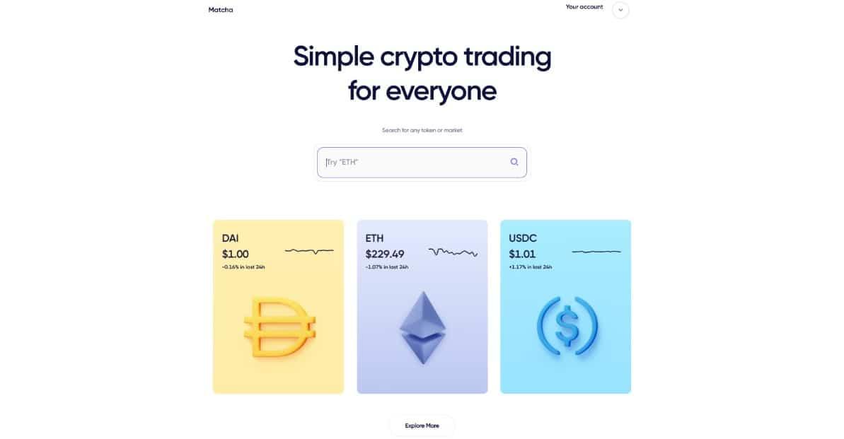 Matcha Trading Interface